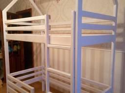 2х-ярусная кровать-домик из натурального дерева