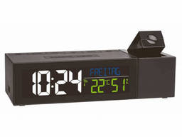 60501401 Часы проекционные TFA SHOW, с климатом в помещении, адаптер, 167x66x48 мм