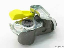 9522010010, Головка зєднувальна з клапаном (жовта) M16x1, 5mm