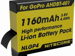 Аккумулятор литиевый Li-Ion Nitecore NLGP4 для GoPro Ahdbt-401 3, 7V (1160mAh)