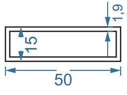 Алюмінієва труба прямокутна 50x15x1. 9