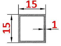 Алюминиевая труба квадратная 15х15х1 анодированная