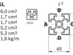 Алюмінієвий верстатний профіль 45x45(анод)