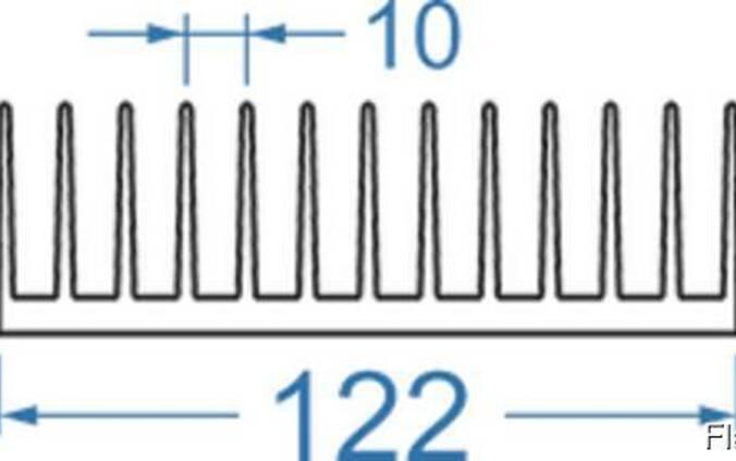 Алюминиевый радиаторный профиль 122x38