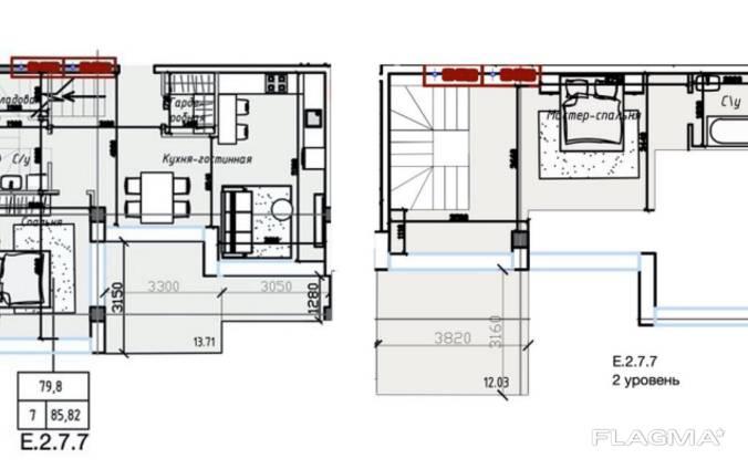 Апартаменты в Одессе два уровня с террасами.