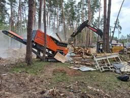 Аренда дробилки по бетону, корням, и строительному дереву