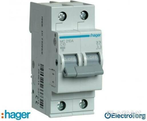Автоматический выключатель 2p 6kA C-10A 2M Hager (Хагер)