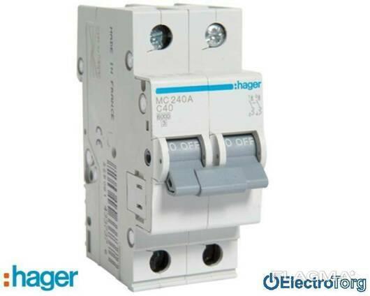 Автоматический выключатель 2p 6kA C-40A 2M Hager (Хагер)