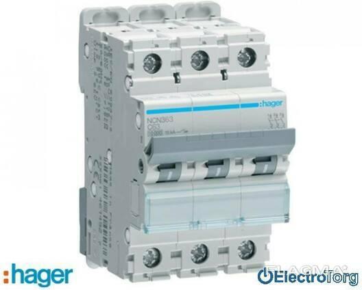 Автоматический выключатель 3p 10kA C-63A 3M Hager (Хагер)