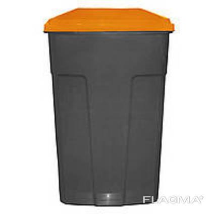 Бак мусорный -90л, с крышкой, пластик, Киев Украина, Оранжевый