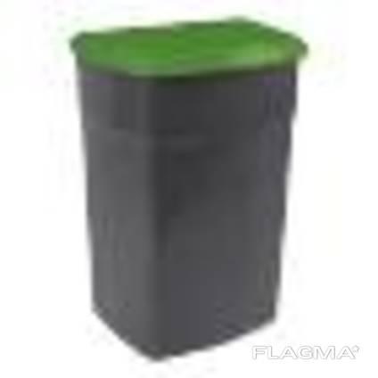 Бак мусорный -90л, с крышкой, пластик, Киев Украина, Зеленый