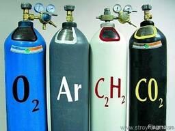 Продам баллоны 40л, заправленные углекислотой, кислородом.