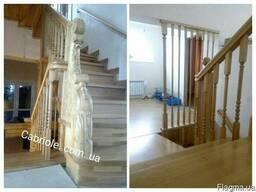 Балясины, ступени, шары деревянные для лестницы.
