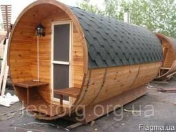 Баня бочка деревянная круглая 2,4*3,4м