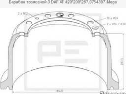 Барабан тормозной З DAF XF 420*200*287,0754397