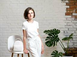 Белые брюки джоггеры на девочку подростка из двунитки