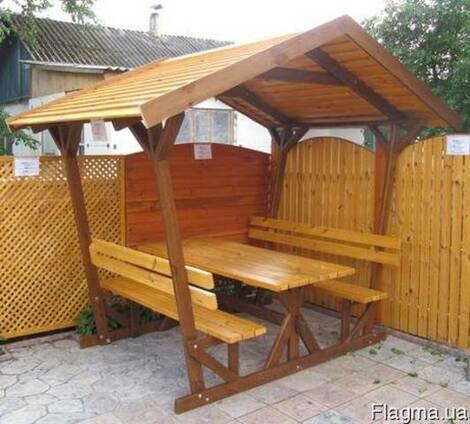 Беседки, скамейки, качели, туалеты из дерева для дома и дачи