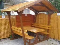 Беседки, скамейки, качели и другие садовые изделия из дерева