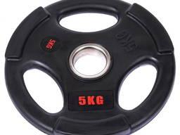 Блин (диск) обрезиненный с тройным хватом d-51мм Life Fintess 5кг (черный)