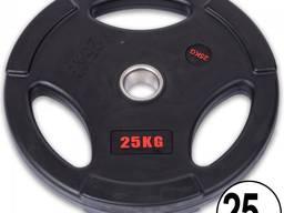 Блин (диск) обрезиненный с тройным хватом d-51мм Life Fintess 25кг (черный)