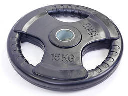Блин обрезиненный 15кг с тройным хватом и металлической втулкой d-52мм