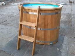 Бочка дубовая купель для бани сауны с пластиковой вставкой о