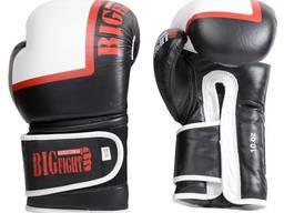 Боксерські рукавички BigFight чорно-білі, шкіра