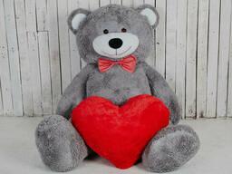Большой плюшевый мишка с сердцем Yarokuz Ричард 200 см Серый