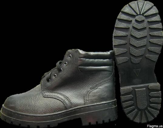 Ботинки комбинированные с мягким кантом, юфть-кирза, мужские