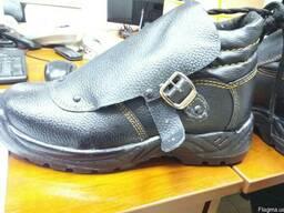 Ботинки сварщика с защитным клапаном кожаные подошва ПУ