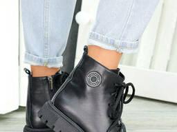 Ботинки трапперы черная кожа 7462-28