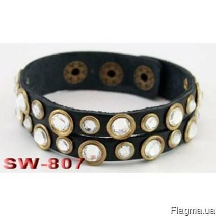 Браслет из натуральной кожи с элементами Swarovski SW807