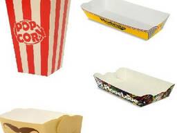 Бумажная тарелка. Стаканы для попкорн в наличии