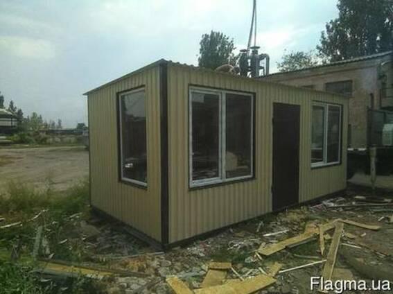 Бытовка строительная 6х3 (панорамные окна)( две межкомнатные