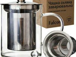 Чашка стеклянная заварочная с ситечком 420 мл Falcon Snt 201-7
