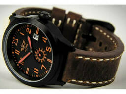 Часы мужские наручные Flieger с кожаным ремешком коричневые