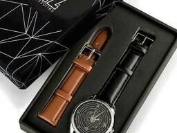 Часы Ziz Планеты, ремешок насыщенно-черный, серебро и дополнительный ремешок SKL22-142645