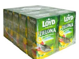 Чай листовой Loyd Zielona, лимон и грейпфрут, 80 г, 10 уп.