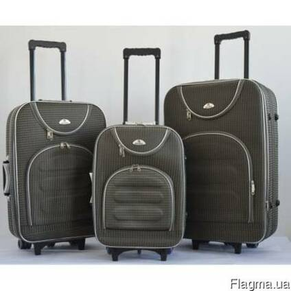 Чемодан на колесах сумка Bonro набор 3 штуки Цвет: серый кле