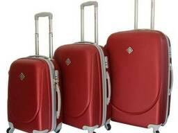 Чемодан сумка дорожный Bonro Smile набор 3 штуки бордовый