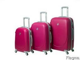 Чемодан сумка дорожный Bonro Smile набор 3 штуки малиновый