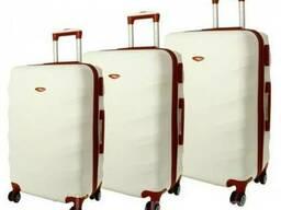 Дорожный чемодан сумка Exclusive набор 3 штуки снежный
