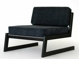 """Черное кресло """"SOFT"""" в стиле LOFT из металла и ткани"""