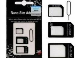 Черный переходник адаптер 4в1 SIM (Mini SIM)-Micro SIM-Nano