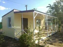 Модульный дом с террасой. Уютный дачный домик.
