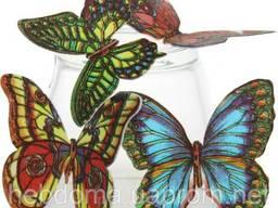"""Декор """"Вафельные бабочки цветные с рисунком микс"""", 180 шт"""