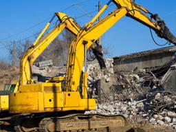 Демонтаж будинків, конструкцій, бетону, цегли, фундаменту