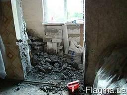 Демонтаж стен, полов, перегородок, конструкций бетонных, кир