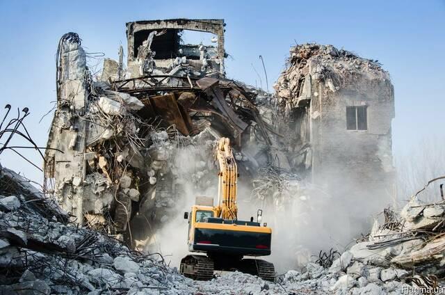 Демонтаж зданий, Услуги Аренда экскаватора с гидромолотом.