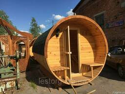 Баня бочка деревянная круглая 2,4х3,4 м